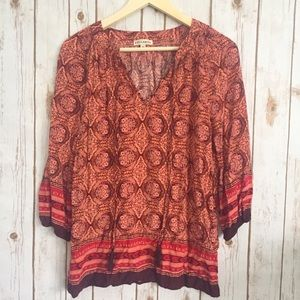 Tops - Artisan NY red and pink boho style top